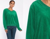 Green Velour Sweater 70s Retro Sweatshirt V NECK Long Sleeve Shirt 80s Retro Top Retro Boho 1980s Pullover Medium