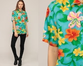 Hawaiian Blouse Floral Shirt Tropical Shirt Button Up 80s Vintage Surfer Vacation Short Sleeve Turquoise Blue Retro Top 1980s Medium