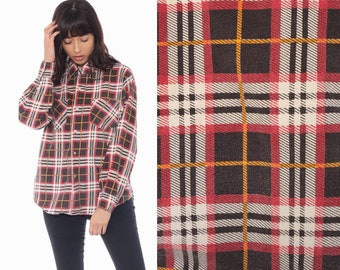 vintage tartain red plaid button up shirt distressed grunge *412