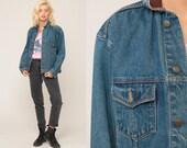Marlboro Jean Jacket 80s Denim Jacket LEATHER COLLAR Jacket Grunge Oversized 90s Vintage Hipster Blue Brown Coat Retro Medium Large
