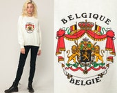 Belgium Sweatshirt 80s Shirt Belgie Crest Print European Shirt 1980s Slouchy Jumper Pullover Retro Graphic Travel Vintage Large