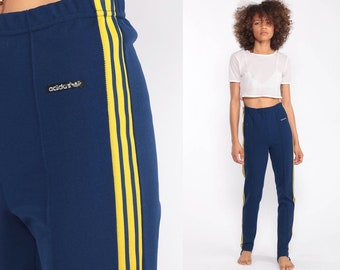 bca25e5e55b6 Adidas Sweatpants STIRRUP Track Pants Skinny Joggers 80s Streetwear Old  School Track Suit 1980s Sports Blue Vintage Retro Extra Small xs