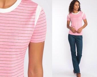 e2b521f6 80s Pink Striped T Shirt -- 1980s Baby Pink Shirt 70s Ringer TShirt Retro  Tee Short Sleeve Small