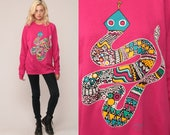 Southwestern Sweatshirt RATTLESNAKE Shirt 80s Sweatshirt Hot Pink Southwest Sweater Animal Snake 1980s Tribal Graphic Vintage Large