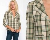 Green Plaid Blazer Checkered Jacket 70s Jacket Wool Button Up 1970s Beige Tartan Jacket Vintage Retro Tailored Preppy Extra Small xs xxs