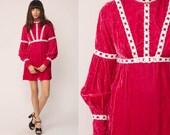 Pink Velvet Dress 70s Mini Babydoll Party Mod 1970s Boho Vintage 60s Long Puff Sleeve Empire Waist Bohemian Cocktail Extra Small xs xxs