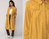 Mustard Yellow Jacket TRAPEZE Babydoll Jacket Coat 80s Long Tent PLEATED 70s Vintage Swing Boho Bohemian Medium