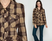 Brown Plaid Shirt 70s METALLIC Threads Brown Blouse Gold Button Down up Top Checkered Print 1970s Vintage Long Sleeve Rockabilly Small xs