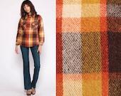 Wool Plaid Shirt 70s Flannel Button Up GRUNGE Long Sleeve Checkered 1970s Boyfriend Shirt Orange Brown Tartan Shirt Small Medium