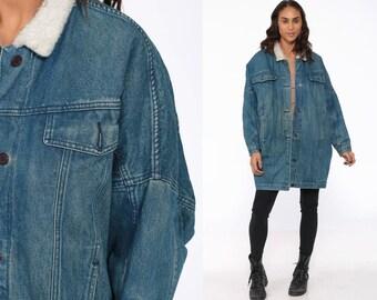 13dadf032 Denim shearling jacket