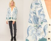Floral Sweater 80s Cardigan Blue Knit Grandma Grunge Boho Slouch Button Up 1980s Preppy Vintage Retro Extra Large xl