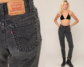 Grey Levi Jeans Levis Mom Jeans High Waist Jeans 80s Jeans Denim Pants 550 Vintage Hipster Tapered 90s Black Small 4 27