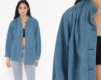 43dd6c336a6 70s Denim Blouse -- Blue Jean Blouse Pocket Over Shirt 80s Bohemian Button  Up Denim Shirt Boho 1970s Long Sleeve Vintage Boho Retro Large