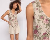 Floral Romper Playsuit FLAX Grunge Romper 90s Boho ATTACHED VEST One Piece Woman 1990s Leg Onesie Button Up Sleeveless Summer Extra Small xs
