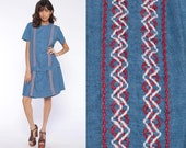 Mod Scooter Dress 60s Romper Playsuit Mini Dress Blue Striped Short Culottes Drop Waist 1960s Hippie Boho Vintage Sixties Large