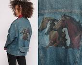 80s Denim Jacket HORSE Jacket Jean Jacket Blue Oversized 1980s Vintage Zip Up Hipster Animal Men Women Medium