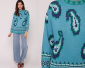 Boho Sweater 70s Sweater Paisley Sweater Knit Blue Pullover Sweater 1970s Bohemian Hippie Vintage Jumper Small Medium