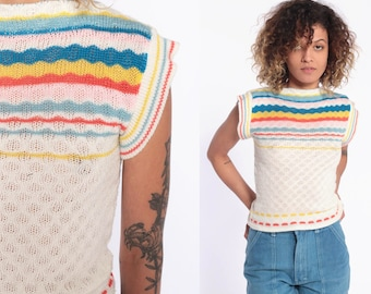 e01a0e8d6 70s Rainbow Stripes Top Sheer Knit Shirt 1970s Striped Shirt Cap Sleeve  Sweater Boat Neck Top Off-White Retro Stretchy Extra Small XS