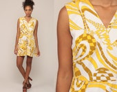 70s Romper Shorts Dress 60s Mod Psychedelic Print High Waisted One Piece Outfit 1970s Vintage Playsuit Gogo Yellow White Medium