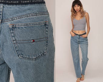 b24a32233 Tommy Hilfiger Jeans Mom Jeans Denim Pants 90s SPELLOUT Jeans Blue Baggy  Vintage Hipster medium 29
