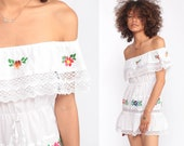 Off Shoulder Dress Mini Boho Mexican Embroidered Lace Peasant Dress Sundress White Hippie Bohemian High Waist Vintage Extra Small xs