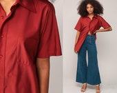 Rust Shirt 70s Shirt Men Button Up 1970s Top Vintage Plain Oxford Collared Hipster Short Sleeve Nerd Medium Large