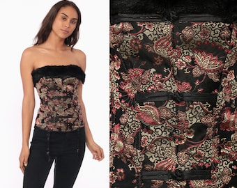 e49f1c0345e Y2K Corset Top Satin Asian Blouse Floral Print 00s Bustier Lingerie  Strapless Top Lace Up Black Faux Fur Shirt Sexy Night Out Small