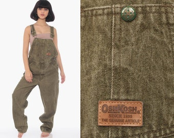 d15710adf31 90s Osh Kosh Overalls OshKosh Jeans Bib Overalls Cargo Olive Green Vintage  Denim Grunge Pants Baggy Long Dungarees Coveralls Small