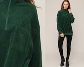 Velour Shirt 80s Sweatshirt Green Sweater Slouchy Long Sleeve Grunge Retro Boho 90s Pullover Jumper Zip Up Extra Large xl