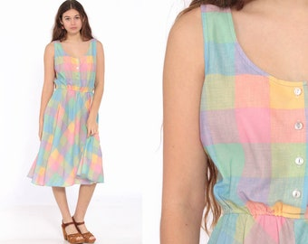 76f6e781a6 70s Midi Dress Pastel Rainbow Dress Checkered Sundress Boho Plaid Summer  Vintage 1970s Bohemian Sun High Waist Button Up Retro Medium