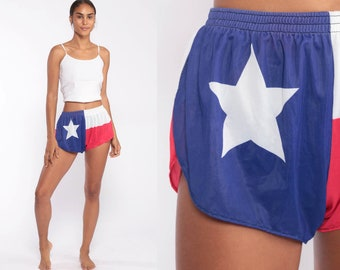super popular bb44d 698bf Texas Flag Shorts Running Shorts 80s Retro Gym High Waisted Retro Jogging  Hotpants Blue Vintage 70s Elastic Waist Hot Pants Extra Small xs s