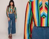 Rainbow Crop Top Striped Shirt Hippie Blouse 70s Cropped Shirt Boho Long Sleeve Top 1970s Vintage Bohemian Festival Small Medium