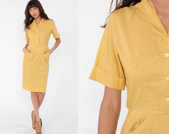 0c9fdc07 50s Wiggle Day Dress 60s Mad Men Hourglass Yellow Pencil Button Up 1960s  Sheath Fitted Vintage High Waisted Short Sleeve Extra Small xs