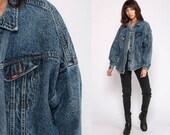 90s Jean Jacket LEE Denim Jacket Blue Acid Wash Jacket Stone Vintage 80s Biker Button Up Trucker Jacket Blue Hipster Medium