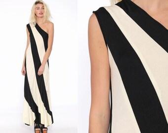48b1bb77241 One Shoulder Dress 70s Maxi Black Off-White Stripe Party 1970s Disco Boho  Grecian Asymmetrical Vintage Gown Bohemian Long Sleeveless Small