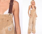Insulated Carhartt Overalls 36 x 30 -- Duck Bib Workwear Coveralls Pants QUILTED Cargo Dungarees Tan Long Work Wear Vintage Medium Large
