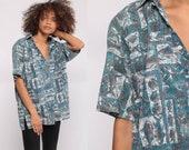 Hawaiian Shirt Fish Shirt Tropical Shirt 90s Rai Nani Surfer Button Up Shirt Beach Vacation Top Blue Medium Large