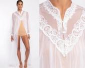 Sheer White Robe Long Lingerie Jacket 70s LACE Robe Boho Maxi Lingerie Nylon Chiffon Peignoir Bohemian 1970s Vintage Medium