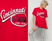Cincinnati Shirt 1988 Graphic Shirt Ohio 80s Tshirt Retro T Shirt Tee Vintage Red Travel City Large