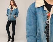 Denim Sherpa Jacket DISTRESSED Denim Jacket Shearling 70s Jean Grunge Oversized Trucker Biker Coat Blue 80s Vintage Fleece Extra Large xl