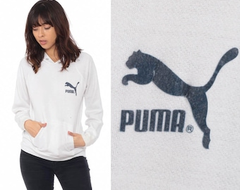 29c2af2866fa Puma Hoodie Sweatshirt Hooded Pullover Kangaroo Pocket Retro White Sweat  Shirt Hood Graphic 1980s Streetwear Sports Athletic Vintage Small