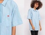 Ben Davis Shirt Stripe Shirt 90s Zip Up Striped Workwear Grunge Tshirt Retro T Shirt Work Wear Baby Blue White Vintage 1990s Extra Large xl