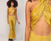 Gold Jumpsuit Bell Bottom Pants 70s Hippie Stage Outfit Dance Costume Boho Metallic Halter Neck Bohemian Vintage Pantsuit Extra Small xs