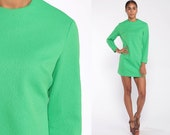 Green Mod Mini Dress 60s Shift Micro Mini 70s Space Age Bright Green Plain Polyester Vintage Long Sleeve Small