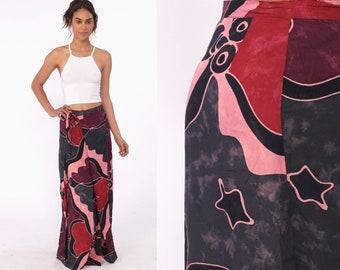 3833c7645 Batik Skirt Maxi Wrap Skirt Floral Skirt Boho Hippie Skirt 90s Bohemian  Skirt Ethnic Indian Vintage Long Festival Cotton 1990s Large