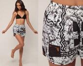 Hawaiian Swim Trunks 70s 80s Tribal Swimsuit Vintage Bathing Suit Batik Print Bikini Bottoms Brown Hipster Swim Vintage Retro Small