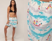 Swim Shorts Trunks Beach Shorts 80s Bathing Suit BOAT Print High Waist Swimsuit Swim Suit Bikini Bottoms Vintage Extra Large xl