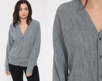 Grey Sweater Grandpa Cardigan Boho Sweater Basic Plain Simple Button Up 80s  Grunge Slouchy Acrylic Knit Vintage Medium b879bb59a