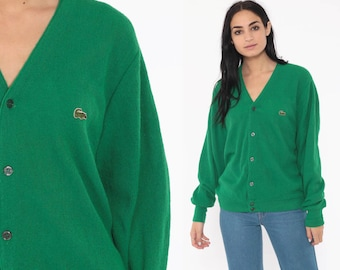 90348cf771cb Green Lacoste Sweater 80s Green Cardigan Button Up IZOD Crocodile Slouchy  Vintage 1980s Preppy Acrylic Knit Oversized Nerd Medium Large