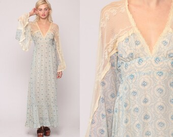 fe51debe99 70s Maxi Dress Gunne Sax Dress ANGEL SLEEVE Floral Print Bohemian Lace  1970s Boho Long Festival Vintage Empire Waist Blue Extra Small xs